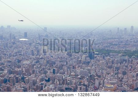 Japan Tokyo Cityscape Building With Helicopter Aerial View