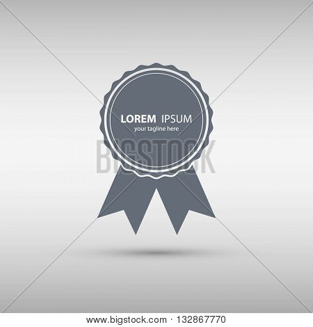 Badge with ribbons icon. Rosette with ribbons isolated on grey background. Vector illustration.