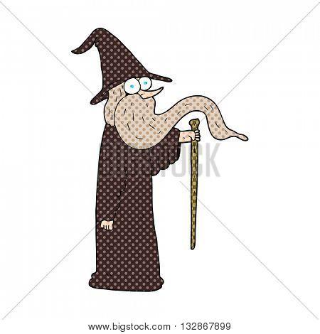 freehand drawn cartoon wizard