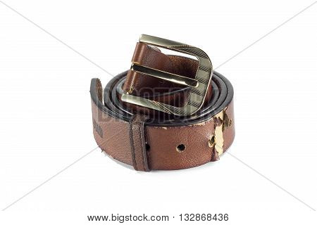Brown leather belt. belt isolated. Classic style of men's belt. Belt or men's brown belt isolated on a background