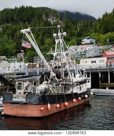 Fishing boat at the port of Ketchikan, Alaska