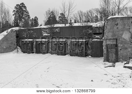 Nuclear bunker. Nuclear bomb shelter. Old abandoned Soviet Cold War bunker in forest. Nuclear bunker of Soviet Union, intended for storage of military equipment and personnel during a nuclear attack.