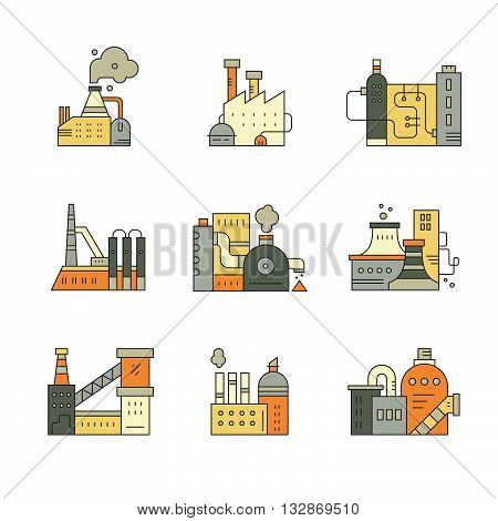 Line style collection of factory icons. Different industrial buildings. Technology and modern world clipart.
