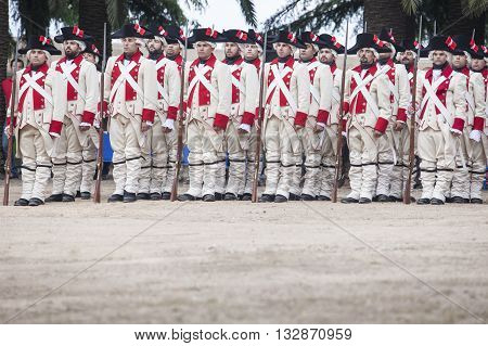 Badajoz Spain - May 25 2016: spanish troops during the Armed forces day. 16th Infantry Regiment Castilla period dressed