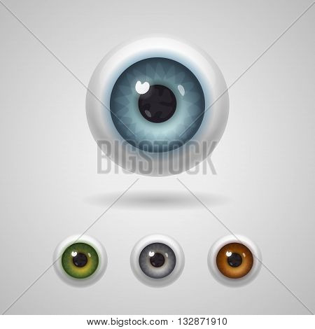 Eyeballs with big irises of blue green gray and hazel colors