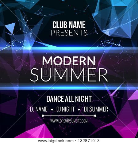 Modern Summer Club Music Party Template, Dance Party Flyer, brochure. Night Party Club sound Banner Poster
