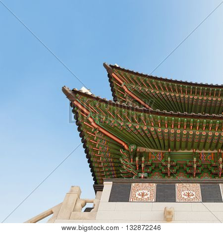 Gyeongbokgung palace gate in Seoul shot at day - Korean Republic