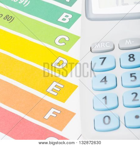 Colorful Energy Efficiency Chart And Neat Calculator Over It