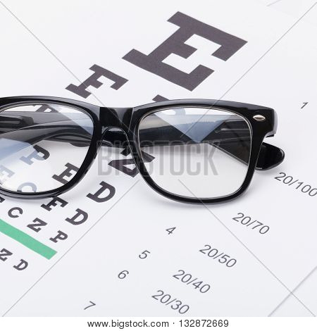 Eyesight Test Table And Glasses Over It