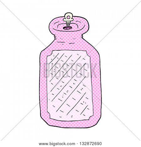 freehand drawn cartoon hot water bottle