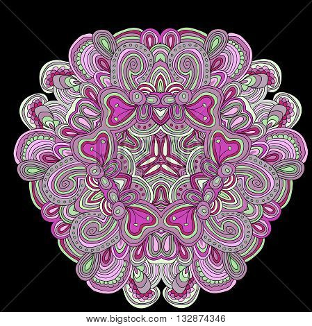 Round symmetrical pattern in green and pink colors. Mandala. Kaleidoscopic design.