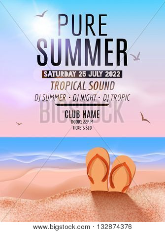Tropic Summer Beach Party. Tropic Summer vacation and travel. Tropical poster colorful background island. Music summer party festival. DJ template