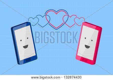 Man's blue phone and woman's pink phone with smiling faces are turned to each other and heart-shaped waves is spreading toward each other. Enamored persons are talking by phone