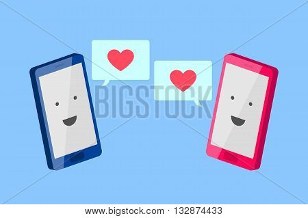 Man's blue phone and woman's pink phone with smiling faces are turned to each other, and message fields with red hearts inside. Love message concept