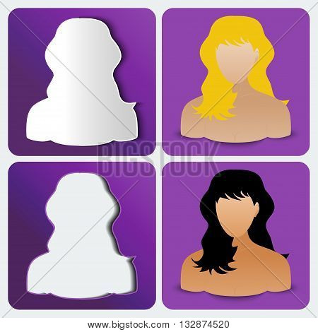 Set of four women's custom icons amethyst color. Vector illustration.