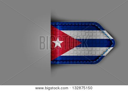 Flag of Cuba in the form of a glossy textured label or bookmark. Vector illustration.