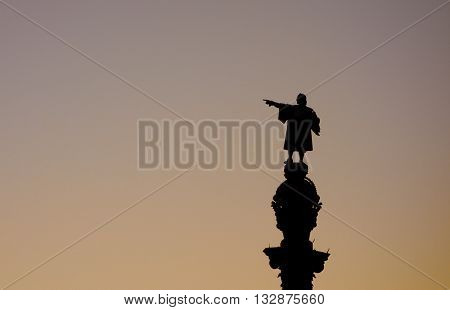 Christopher Columbus statue is one of the iconic images of Barcelona. Suitable for Columbus day