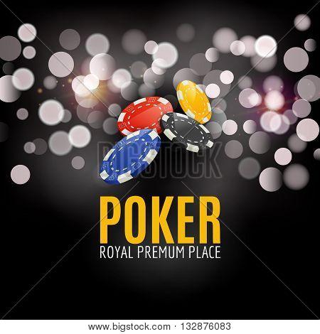 Shining Casino Poker Banner Poster. Show spotlight Poker design with chips. Casino poster.