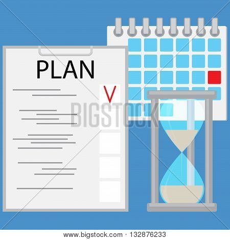 Planning time business concept flat. Strategy business plan and planning process. Vector illustration
