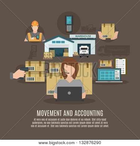 Warehouse storeroom facilities accounting and goods moving and transportation concept flat icons combination banner abstract vector illustration