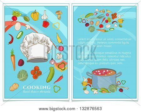 Cookbook watercolor food template hand drawn vector illustration