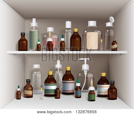 Medical Bottles Elements Collection. Medical Bottles Vector Illustration. Medical Bottles Decorative Set.  Medical Bottles On Shelves Design Set.Medical Bottles On Shelves Realistic Set.