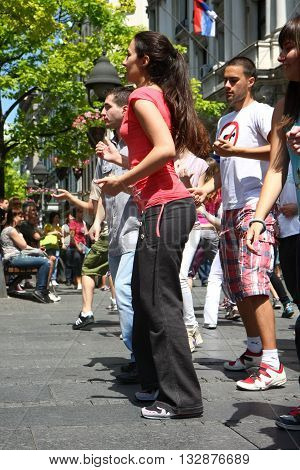 BELGRADE SERBIA-JUN 26,2011:Young people give public lesson of dance within manifestation Belgradization of Belgrade