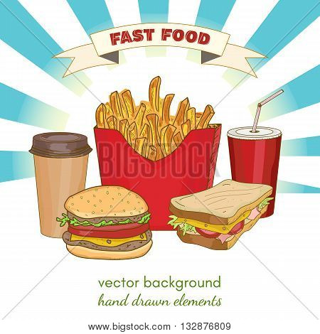 Fast food collection cheeseburger hamburger sandwich cup of coffee cup of soda vector illustration
