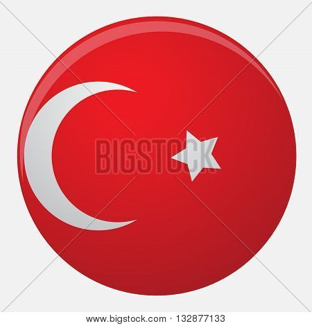 Turkey flag icon flat. Flag turkey illustration and isolated national turkish symbol vector