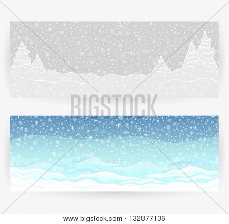 Winter festive backgrounds with winter landscapes, snow, snowflakes, in gray and blue colors. Horizontally rectangular banners