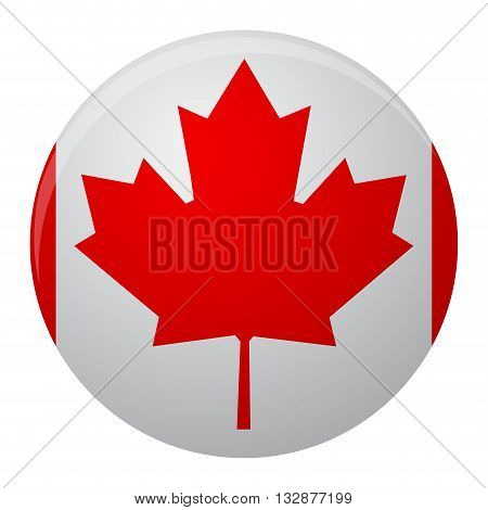 Canada flag icon flat. Symbol of canada country and vector sign nation canadian illustration