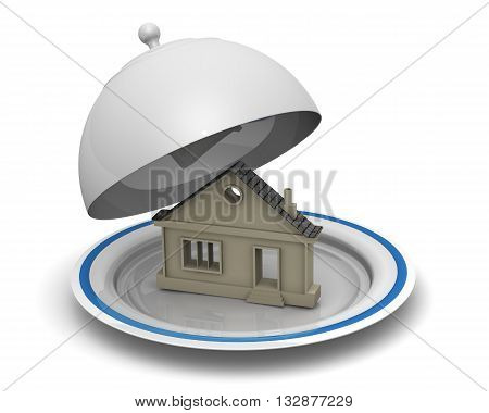 Symbol of house on serving tray. The symbol of the house on a serving tray platter.. Isolated. 3D Illustration
