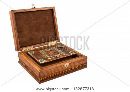 Bible isolated on white background The Bible with golden cross on cover isolated on white