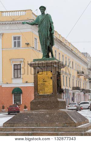 Monument of Duke de Richelieu in Odessa Ukraine. travel series: Duk de Reshilietmonument in the Ukrainian city Odessa