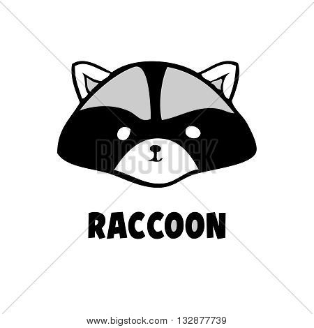 Vector head raccoon icon little raccoon logo black on white background. Coon flat animal.