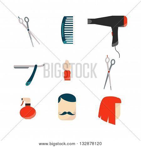 Barber Tools Set  / Vector Barber Icons Set on White Background