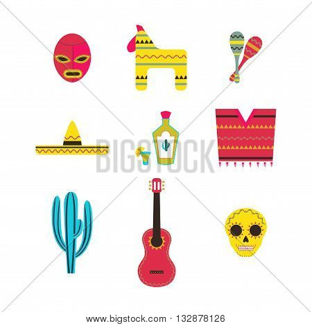 Set of Mexico Icons Vector Illustration / Mexican Theme Flat Icon Collection