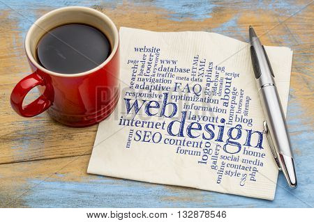 web or website design concept - a word cloud on a  napkin with a cup of coffee