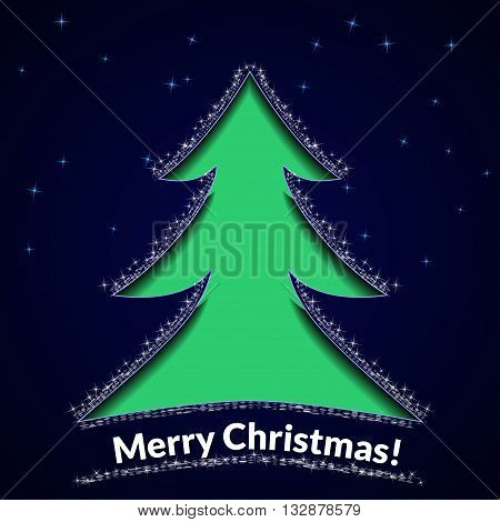 Christmas background or greeting card. Stencil tree on a blue star background. Vector illustration.