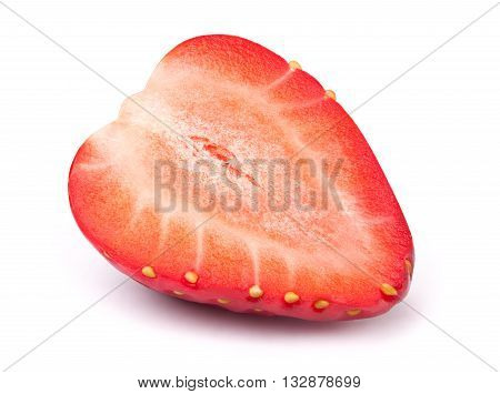 Perfectly cleaned sliced strawberry isolated on the white background with clipping path