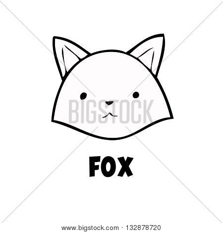 Vector head fox icon little fox logo black on white background. Cute anime fox. Coon animal.