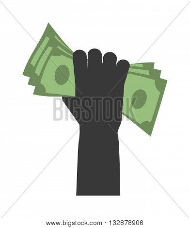 Human hand with dollars money business currency finance investment vector icon. Business money in hand bill money in hand. Paying concept money in hands. Money concept