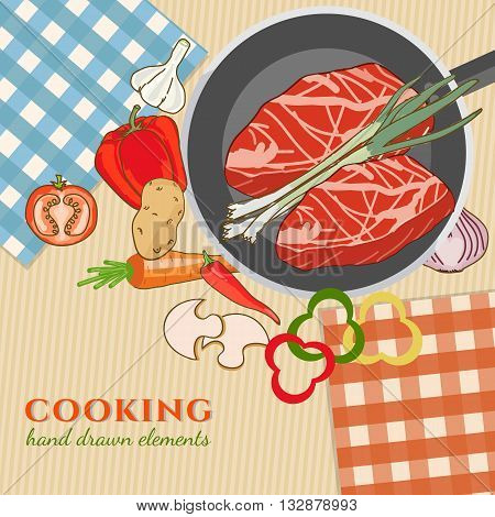 Cooking kitchen table time to cook cooking recipes fresh meat and vegetables food template hand drawn sketch illustration