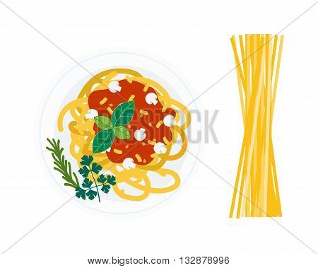 Spaghetti pasta with tomato slices on white background. Italian dinner pasta dish and lunch plate pasta plate. Pasta dish tomato cuisine spaghetti and pasta dish delicious cheese gourmet healthy.