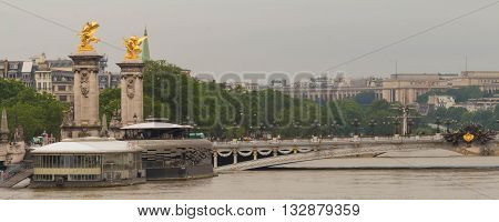 Paris; France-June 04 2016 : The bridge Alexandre III and Seine river in flood .The river Seine in Paris is at his highest level for more than 30 years with floods forcing closed parts of the metro systems and major landmarks.