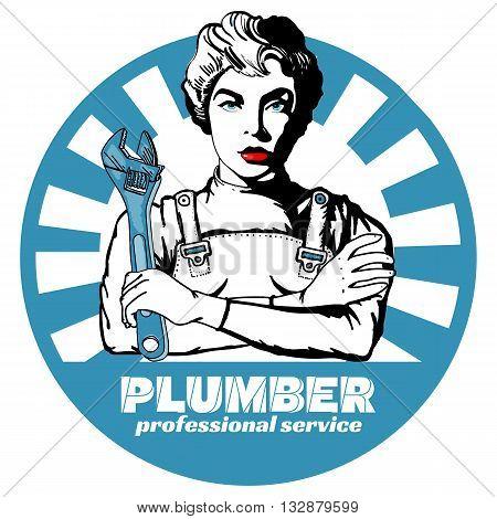 Professional plumber sticker pop art vector illustration