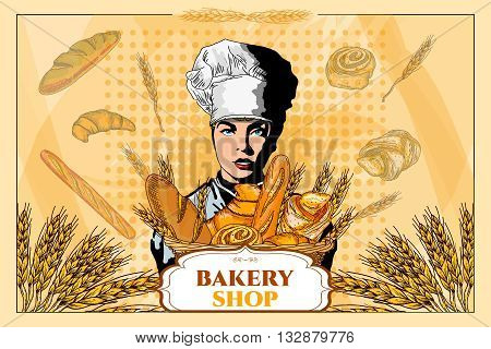 Bakery shop. Beautiful woman with a basket of bread. Bakery basket. Fresh bread. Template. Pop art vector illustration