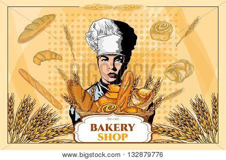 Bakery shop. Beautiful woman with a basket of bread. Bakery basket. Fresh bread. Template. Pop art vector illustration