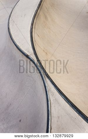 Background of an empty bowl with rails in a concrete skate park.