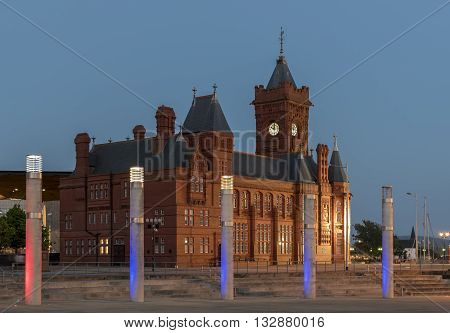 The Pier Head building in Cardiff Bay, an historical administrative center, at night